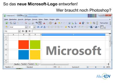 Wurde das neue Microsoft-Logo in Excel oder Calc entworfen?